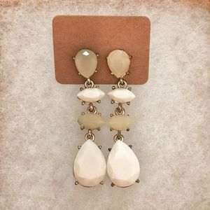 Taupe and ivory drop earrings